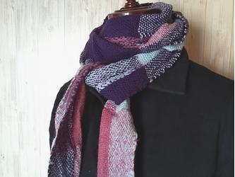 上質な糸ばかりを使った手織りロングマフラー シルクウール、カシミヤ の画像