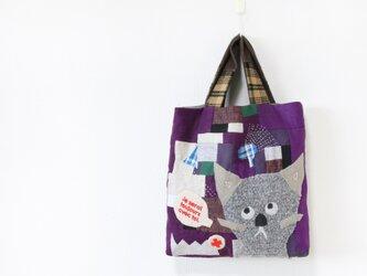 ちくちく2‐faced bag-手提げ「cat」の画像