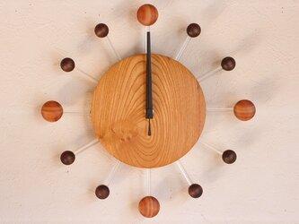 無垢の木の電波掛け時計 けやき 0080の画像