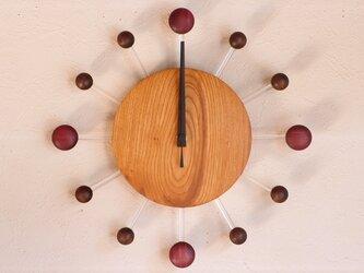無垢の木の電波掛け時計 けやき 0081の画像