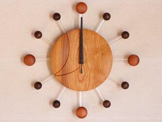 無垢の木の電波掛け時計 けやき 0082の画像