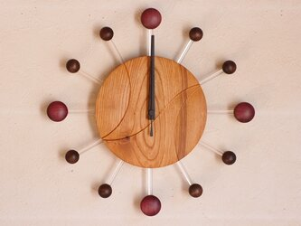 無垢の木の電波掛け時計 けやき 0083の画像