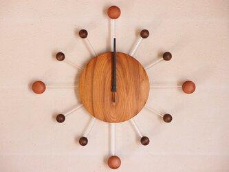 無垢の木の電波掛け時計 けやき 0084の画像