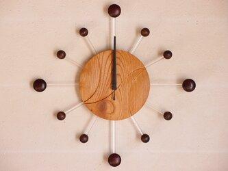 無垢の木の電波掛け時計 けやき 0085の画像