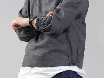 【wafu】中厚 リネン スウェット風トップス リネントレーナー/ディムグレー t048a-dmg2の画像