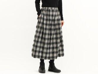 タックギャザースカート(黒チェック)#343の画像