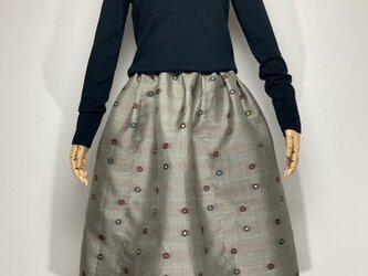 【着物リメイク】タック&ギャザースカート/薄グレー地にチェック・カラフルドットの画像