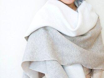 ヤク混起毛ニット/大判ブランケットストール【OrganicCotton+ヤク毛】の画像