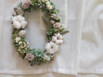 【受注製作】ドライアジサイと綿の実のオーバルwreath(リース プリザーブドフラワー ドライフラワー アンティーク)の画像