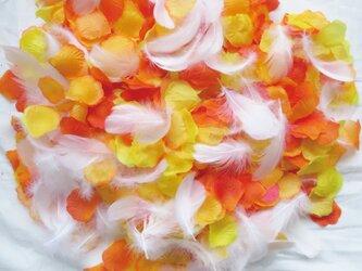 送料無料☆3色MIX フラワーシャワー ハニーオレンジ 1000枚 フェザー入り フラワーペタル 造花 パーティー ウェの画像