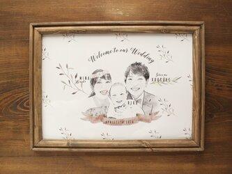 結婚式 ウェルカムボード額セット 水彩風ブラックの画像