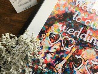 結婚式 ウェルカムボード額セット パステルペイント風の画像