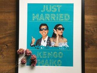結婚式 ウェルカムボード額セット ポリゴン風の画像