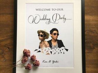 結婚式 ウェルカムボード台紙のみ ポリゴン風の画像
