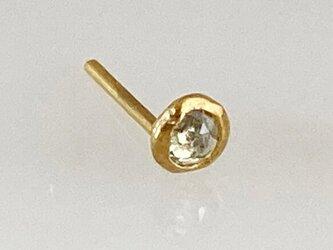 K24 ローズカット天然ダイヤモンド 純金スタッドピアス◇k24ポスト(片耳分)の画像