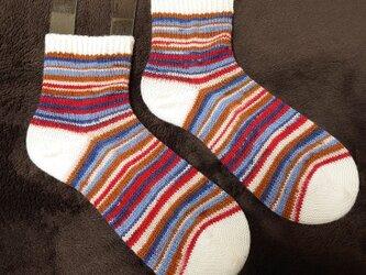 手編み靴下 カメレオンカメラ ベーシックボーダーの画像