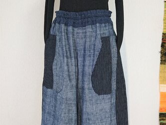 縞と無地の古布パンツ  201004の画像