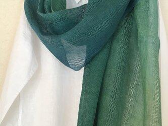 麻ショール コブナグサ+藍 緑色の画像