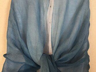 草木染め 麻ショール 藍 ブルーの画像