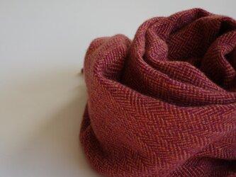 手織りカシミアマフラー・・紅い葉っぱの画像