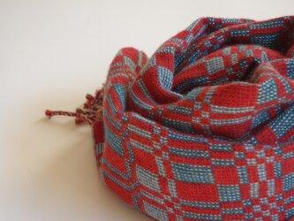 手織りカシミアストール・・赤×青の画像