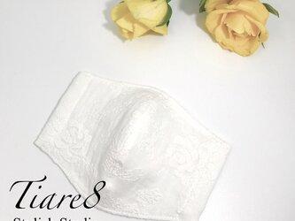 【やや小さめサイズ】清潔感たっぷり◎白のふっくら優しい上質ダブルガーゼ素材☆エレガントなバラ刺繍のシンプル立体マスクの画像