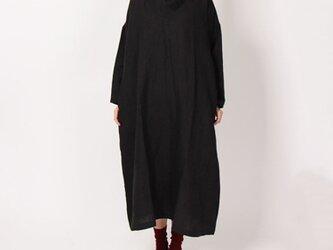 9番手平織りクロスネックワンピース(ブラック)の画像