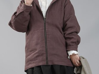 【wafu】中厚 リネン パーカー 裏地付き ジップアップ式 フード 男女兼用/小豆色(あずきいろ) h046a-azk2の画像