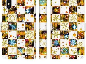 雪の結晶 チェック柄 黄色 iPhone 手帳型 スマホケース 携帯ケース 送料無料の画像