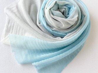 冬映えブルー*凸凹ここちよいウール*空色×灰青色*ストールの画像