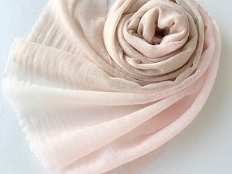 凸凹ここちよいウール*薄桜色×伽羅色*ストールの画像