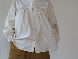 peasant shirts[マイクロコーデュロイ×コットンワッシャー][ivory]の画像