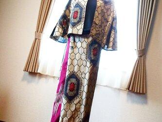 大島紡ぎでリメイクドレスの画像