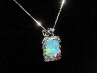 7.05ctオパールとルビー、再生ダイヤモンド、SV925のリバーシブル・ネックレス(スライド式チェーン、ロジウム)の画像
