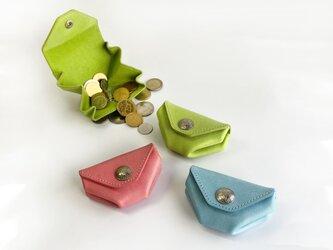 しあわせのコインケース(ライムグリーン)イタリアンレザー MAINE 使用の画像