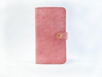 コーラルピンクの iPhoneケース (手帳タイプ)  イタリアンレザー使用【ほぼ全機種対応】の画像