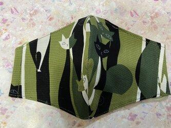 ねこ柄・大人用マスク・手作りマスク・猫・ハンドメイドの画像