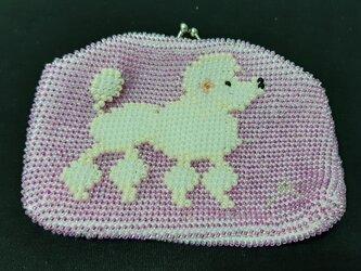 <オーダー品>ビーズ編みがま口財布 プードル柄<送料無料>の画像