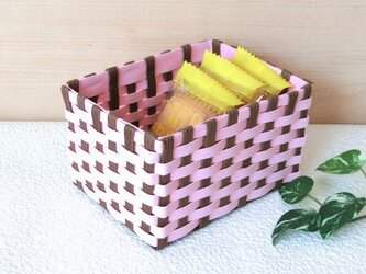 クラフトカゴ 人気の和柄模様 ピンク色×茶色 小物収納の画像