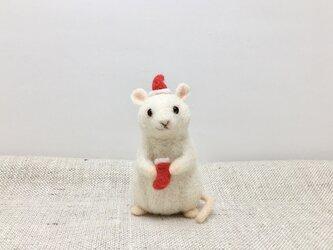 ネズミのクリスマス(靴下と帽子)の画像