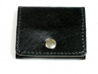 牛革手縫い 黒とオレンジのコインケースの画像