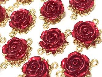 【コネクター】赤い薔薇チャーム 6個【バラの花パーツ ピアス ハンドメイド素材】の画像