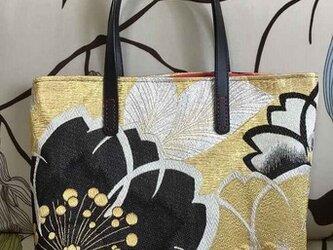 アンズルーム★正絹帯トートバッグ ★ハンドバッグ かばん★正絹帯★丹後ちりめん★ポケット付きの画像