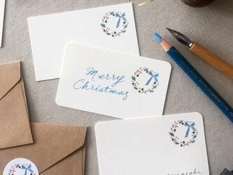木の実のリースのメッセージカード クリスマスカード 20枚の画像