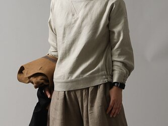 【wafu プレミアムリネン】リネン スウェット風トップス リネントレーナー/オーシャン t048a-ocn2の画像