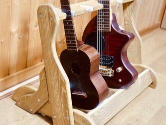 手作り木工 ウクレレ・ミニギタースタンド (オーク) 4本掛けの画像