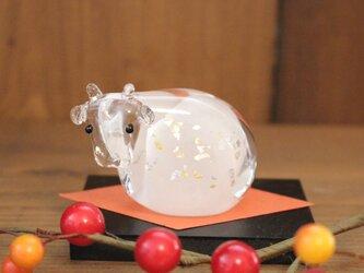 干支 丑 Sサイズ ガラス 置物 お正月の画像