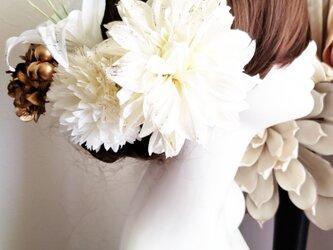 華麗 ラメ加工 大きなダリアとユリの髪飾り5点Set No770 ウェディングの画像