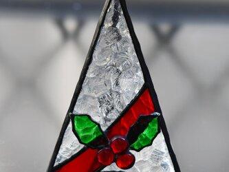 ステンドグラス クリスマスツリー ヒイラギ キャンドルの画像