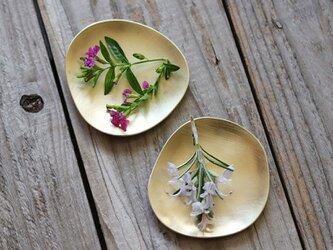 Stone mini ふぞろいの小さい真鍮皿 2枚組の画像